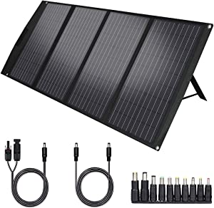 TWELSEAVAN 120W Portable Foldable Solar Panel Charger for Jackery Explorer 160/240/500 Power Station/Suaoki S270/Goal Zero Yeti/Rockpals 250W Solar Generator, with USB QC3.0 Port, USB Type C Port
