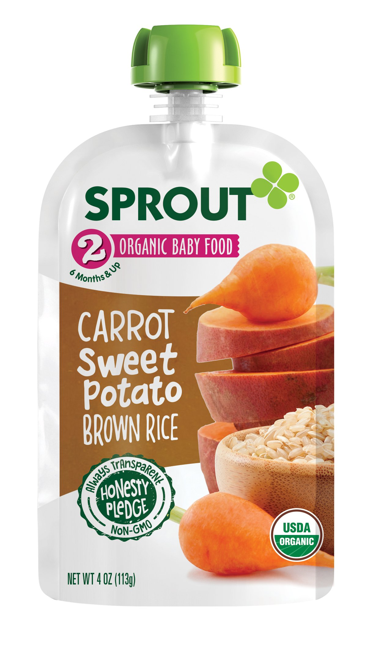Sprout Organic Baby Food Pouches Stage 2 Sprout Baby Food, Carrot Sweet Potato Brown Rice, 4 Ounce (Pack of 5); USDA Organic, Non-GMO, Made with Whole Foods, No Preservatives, Nothing Artificial