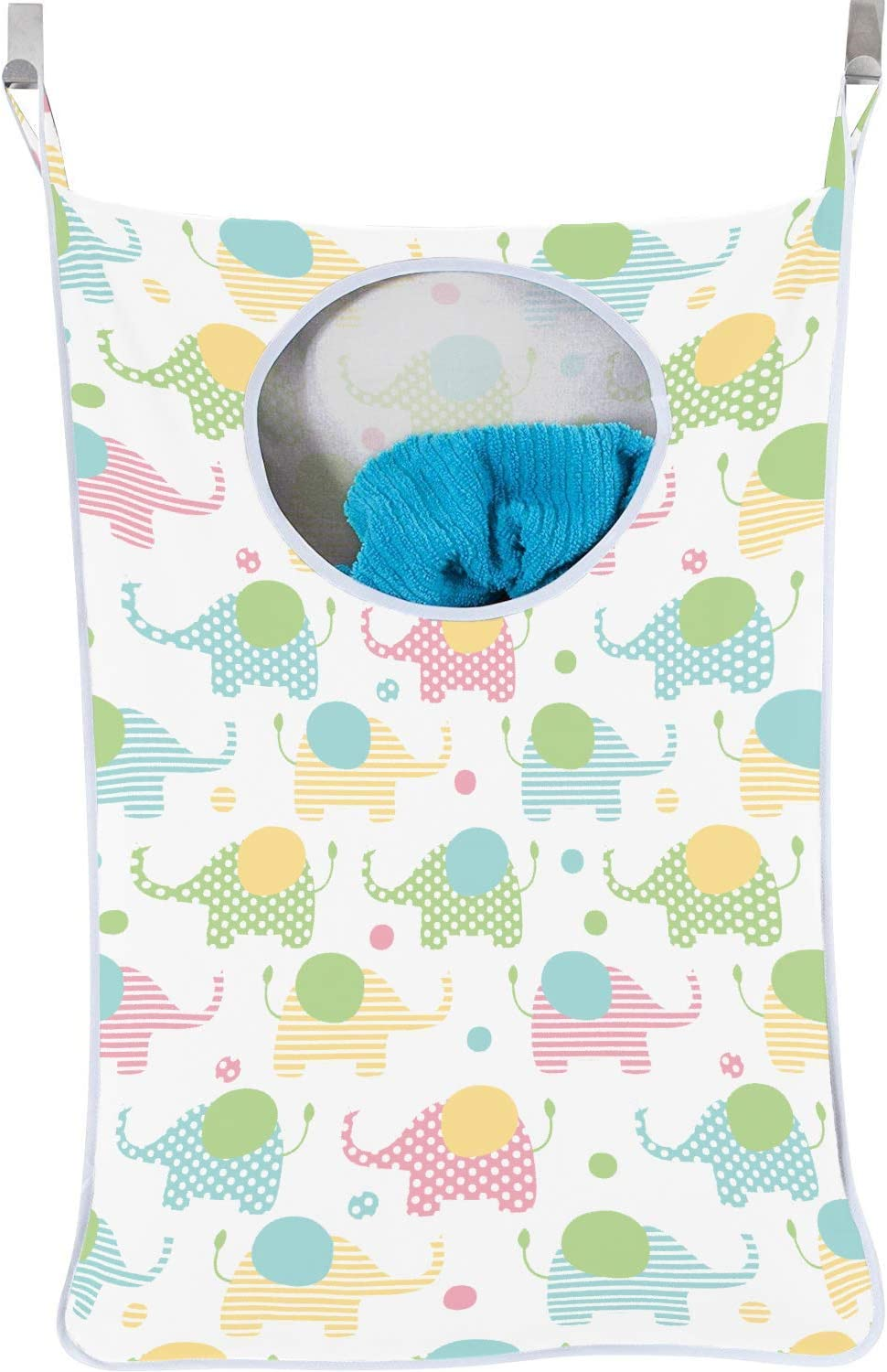 Urban Mom Hanging Laundry Hamper Baby Unisex - Elephants Pastel