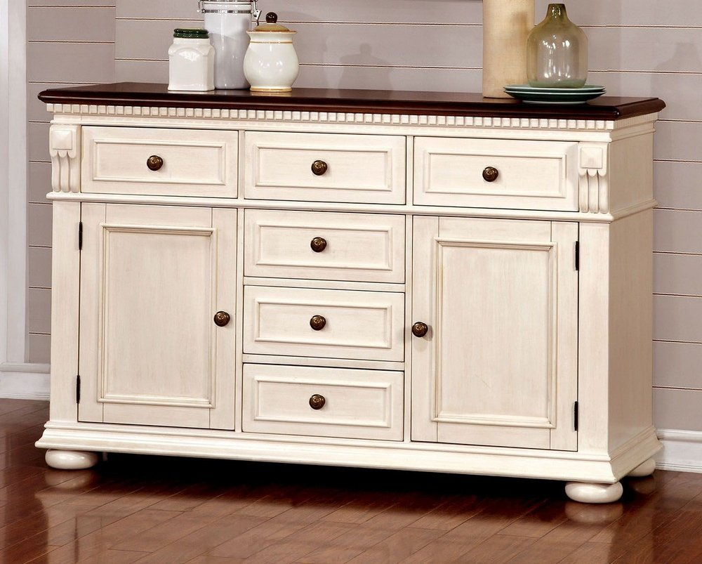 Amazon.com   Furniture Of America CM3199WC SV Sabrina Cherry U0026 White Server  Dining Room Buffet   Buffets U0026 Sideboards