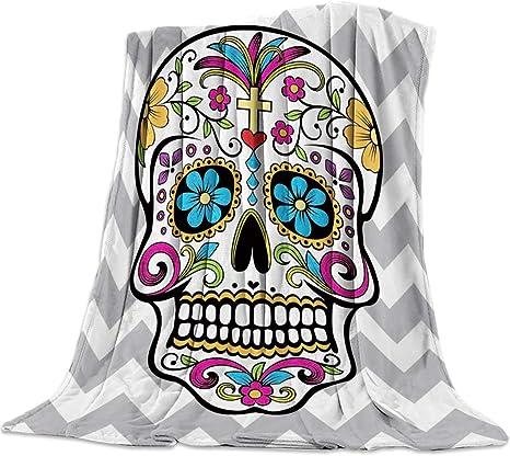 "SODIKA Throw Blanket for Couch Bed Sofa Chair,Luxury Decorative Flannel Fleece Microfiber Throw Blankets,Chevron Sugar Skull Twin Size 40""x50"""
