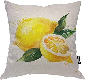 Moslion Lemon Pillows Nature Watercolor Summer Fruit Lemons Slich Leaves Throw Pillow Cover Decorative Pillow Case Square Cushion Accent Cotton Linen Home 18x18 Inch Yellow Green