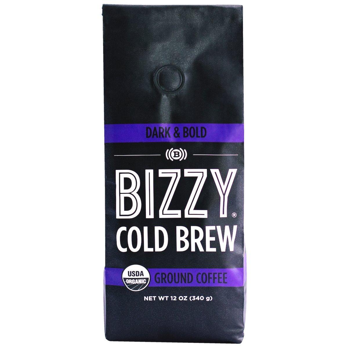 Bizzy Organic Cold Brew Coffee - Dark & Bold Blend - Coarse Ground Coffee - 12 oz