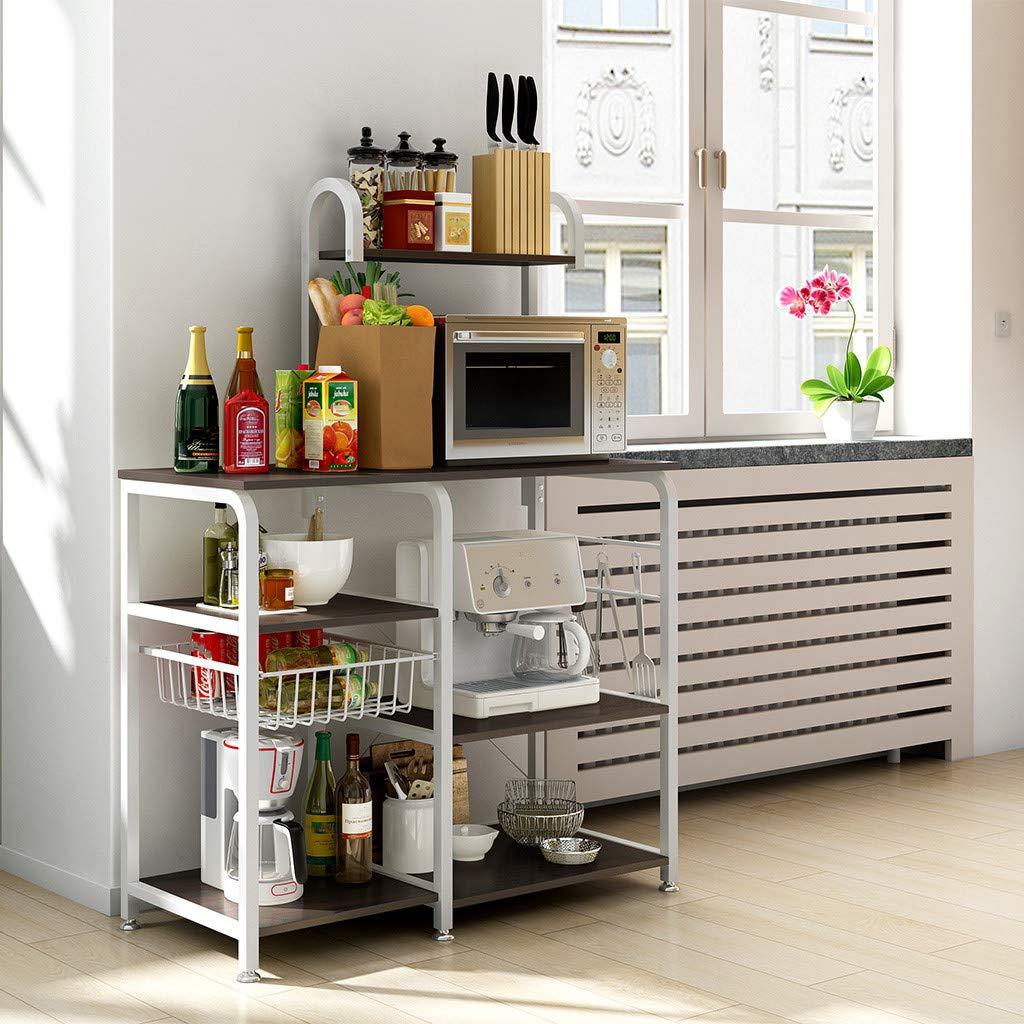 Aobiny Kitchen Rack,Utility Storage Shelf 35.5'' Microwave Stand 4-Tier 3-Tier Shelf for Spice Rack Organizer Workstation (Black)