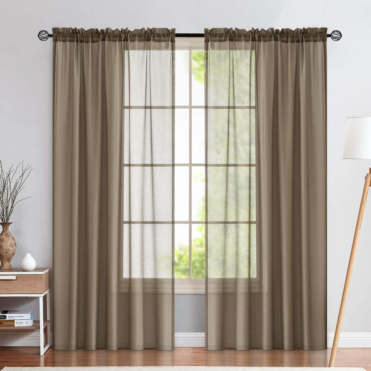 Amazon Com Sheer Curtains Brown Living Room 95 Inch Length Rod Pocket Window Curtain Panels Bedroom Semi Sheer Voile Curtains 2 Panels Taupe Khaki Kitchen Dining