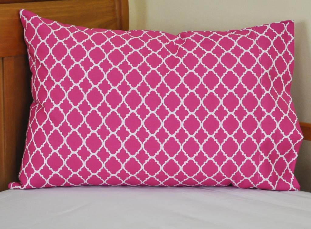 Fucshia Toddler Pillowcase Cute Quatrefoil (Lattice) Design 14x21 Great for Travel too!