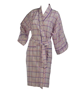Waite Ltd Ladies Combed Cotton Tartan Check Dressing Gown Satin ...
