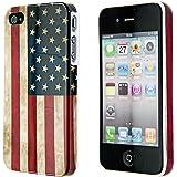 kwmobile Étui rigide Design drapeau USA pour Apple iPhone 4 / 4S en bleu blanc rouge