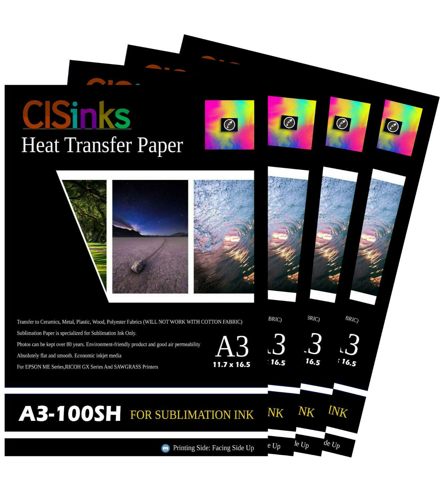 CISinks 400 Sheets A3 11.7'' x 16.5'' Inch 100gsm Thick Sublimation Inkjet Heat Transfer Paper