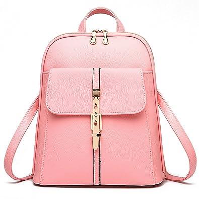59f90c3016 Amazon.com  H.TAVEL®new Fashion Women Girl Leather Mini School Bag Travel  Backpack Rucksack Shoulders Bag Satchel (Pink)   Shoes