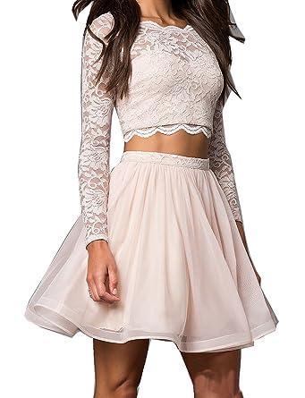 Miss-Meg Women\'s 2017 Two Pieces Homecoming Dress Long Sleeve Short ...