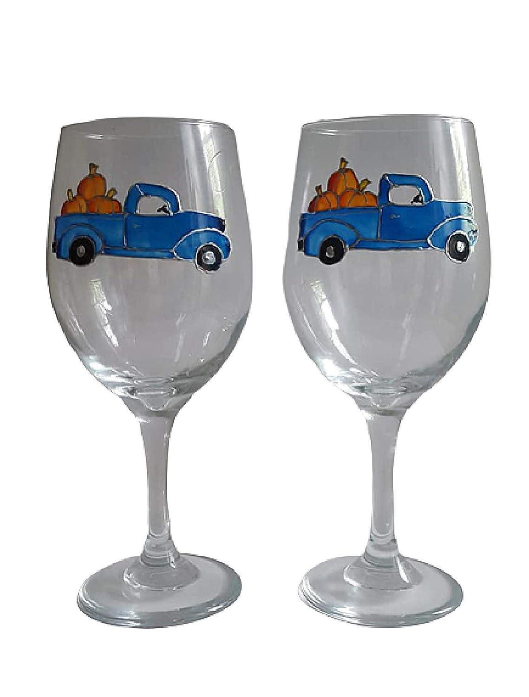 Amazon Com Blue Vintage Pickup Truck Pumpkins Wine Glasses Set Of 2 Hand Painted Fall Home Decor Handmade