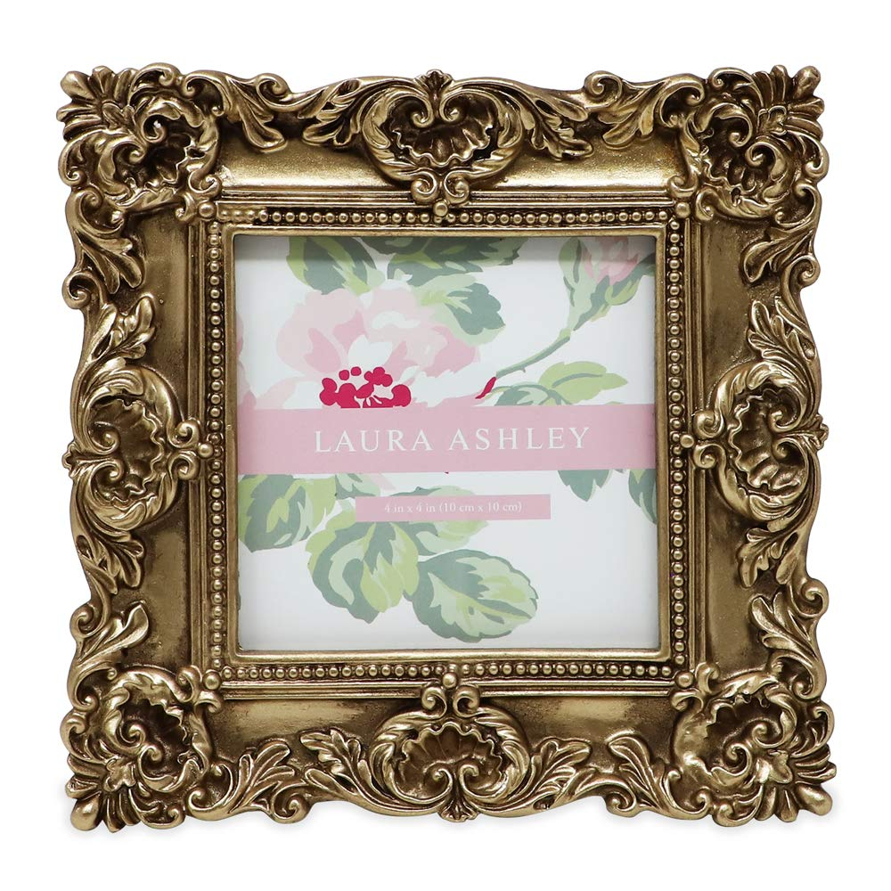 Laura Ashley 4x4 Gold Ornate Textured Hand-Crafted Resin Picture Frame with Easel & Hook for Tabletop & Wall Display, Decorative Floral Design Home Decor, Photo Gallery, Art, More (4x4, Gold) by Laura Ashley
