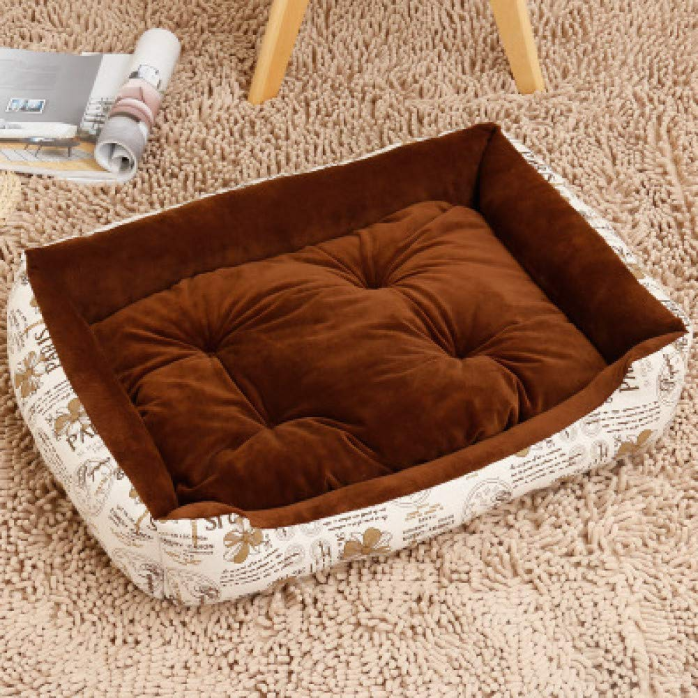 Brown flower 80cm CZHCFF Large Dog Winter Bed Kennel Warm Washable Cat Yorkies Labrador Sleeping Sofas House Fashion Durable Pet Supplies