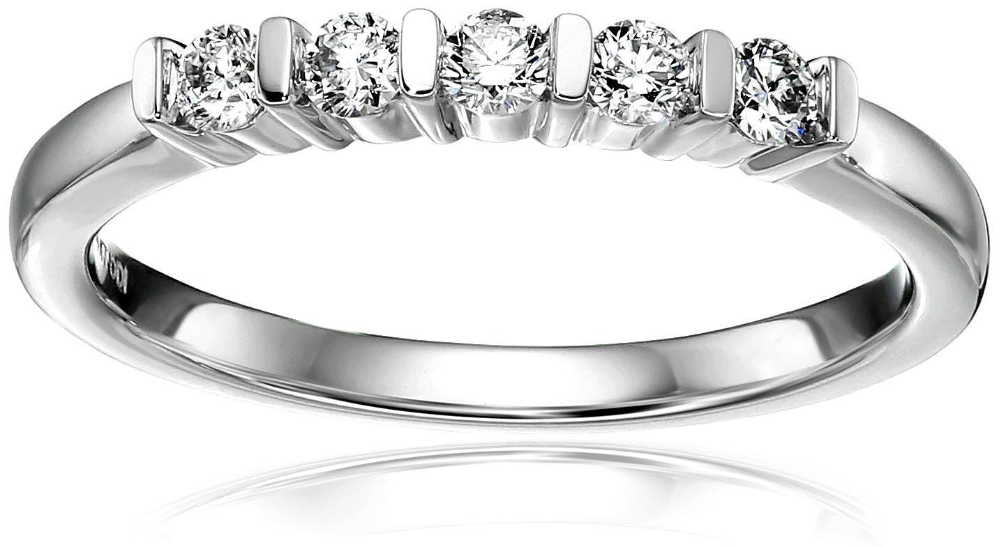 14k White Gold Diamond 5-Stone Bar Set Anniversary Ring (1/4cttw, H-I Color, I1-I2 Clarity ), Size 7