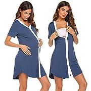Ekouaer Sleepshirt Women Button-Front Nightshirt Short Sleeve Nightgown Sleepwear, Navy Blue, Large