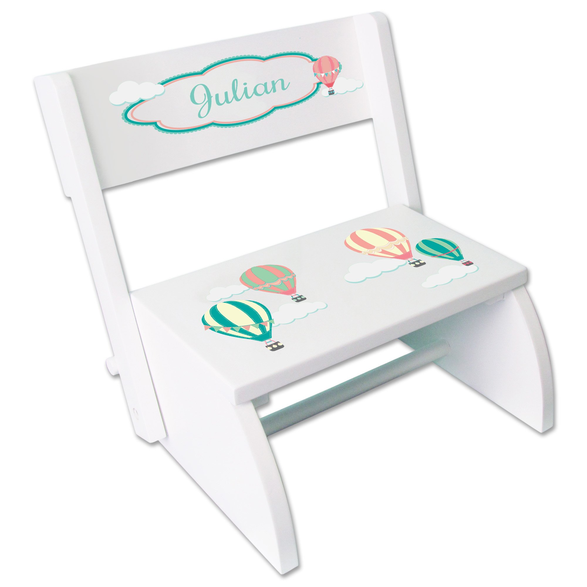 Personalized Hot Air Balloon Childrens and Toddlers White folding stool