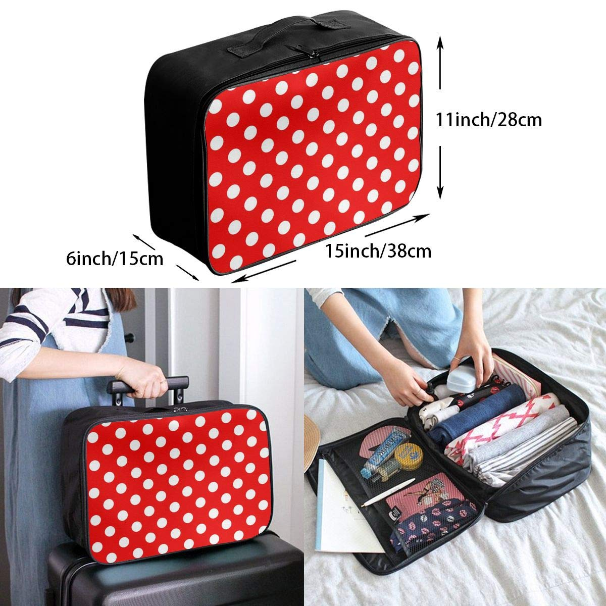White Polka Dot Red Background Travel Lightweight Waterproof Foldable Storage Portable Luggage Duffle Tote Bag Large Capacity In Trolley Handle Bags 6x11x15 Inch