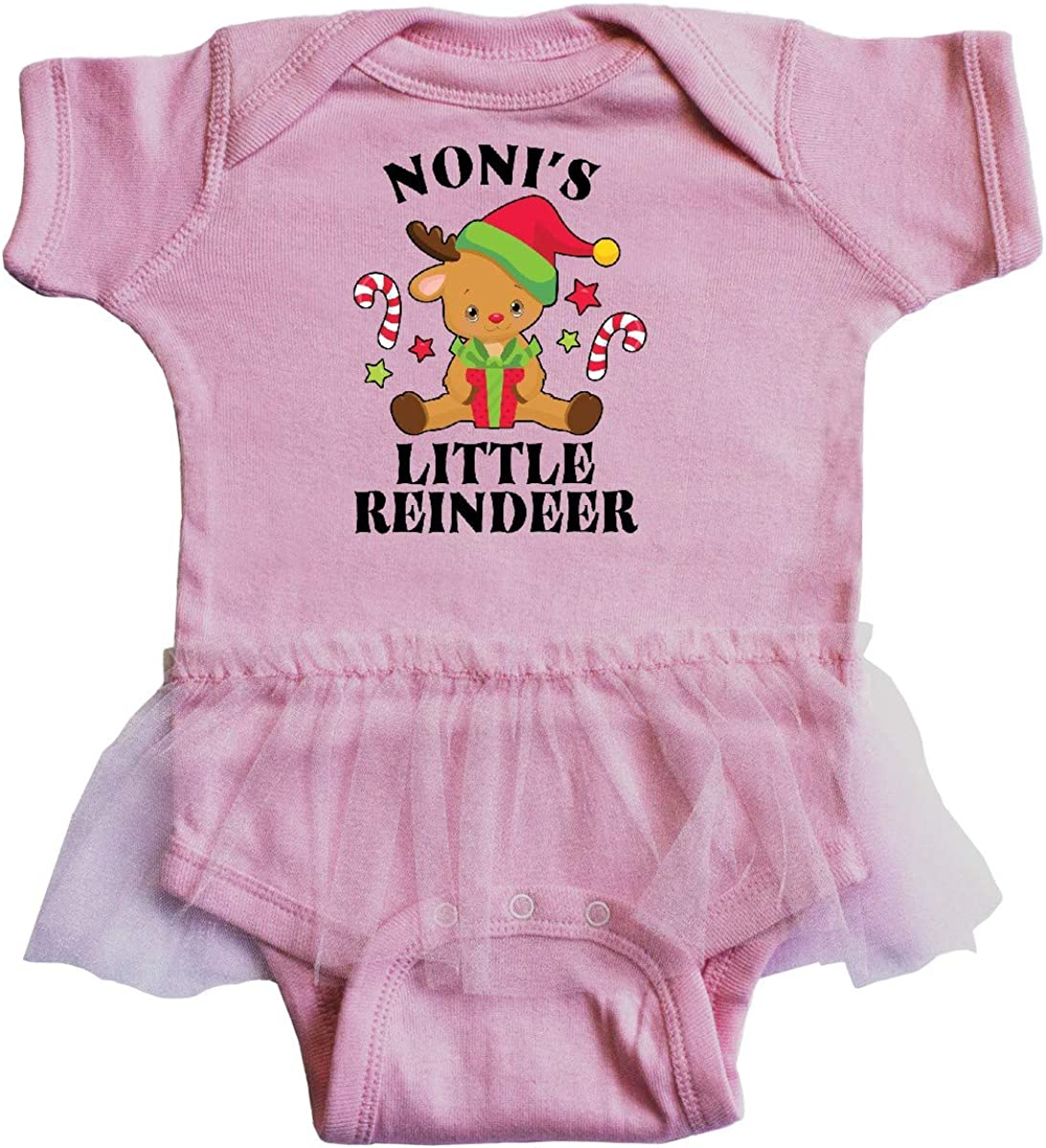 inktastic Christmas Nonis Little Reindeer with Candy Canes Infant Tutu Bodysuit
