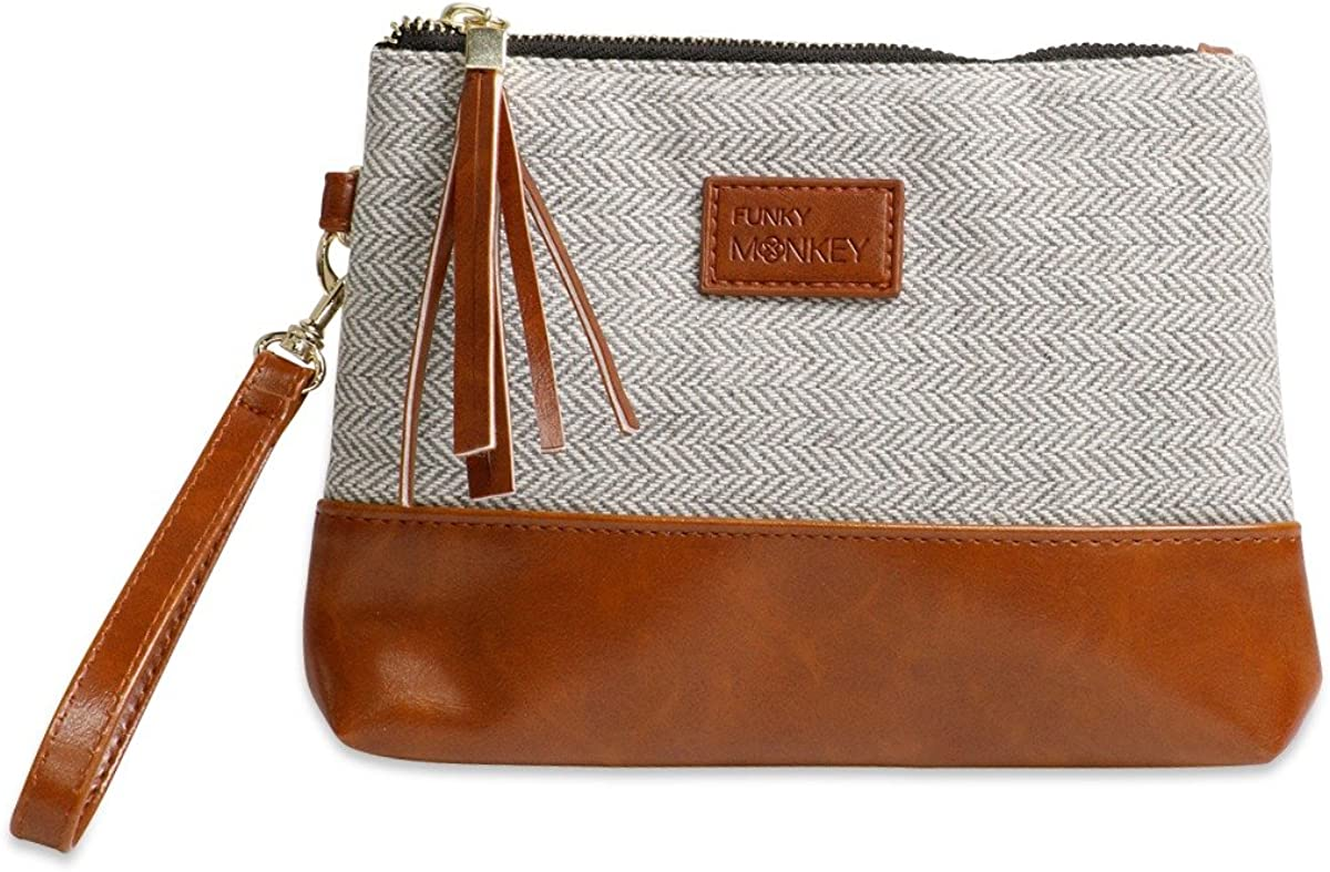 Wristlet Wallet Clutch Bag {Greta-Medium} Phone Purse Handbag Gray White Herringbone Funky Monkey Fashion