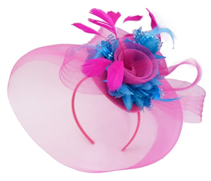 c18f1c2c3539a Feather Flower Fascinator Hat Veil Net Headband Clip Ascot Derby Races  Wedding (Fuchsia Hot Pink and Aqua)  Amazon.co.uk  Clothing
