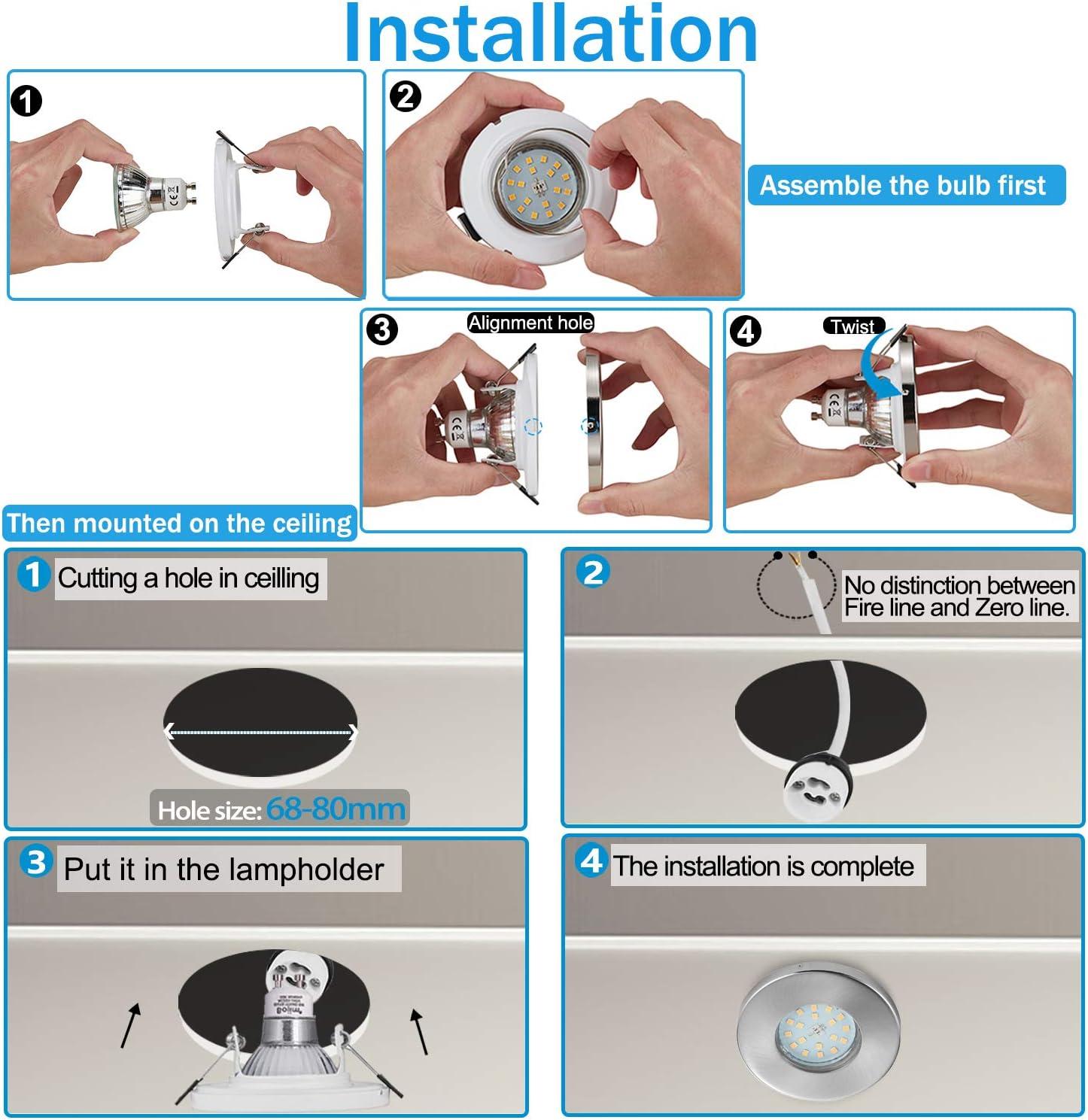 Bojim Spot LED Encastrable pour Salle de Bain IP44 Plafonnier Encastr/é 120/° d/'/Éclairage 220V pour Salon Chambre Cuisine Couloir Bureau 6 X 6W Ampoule GU10 Blanc du Jour 4500K 600LM Eqv.54W Halog/ène