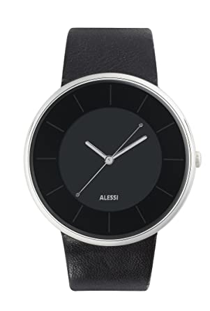Alessi Unisex AL8004 Luna Black Dial and Leather Strap Watch