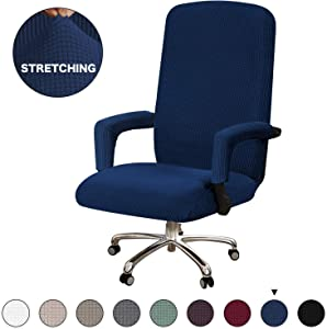Office Chair Slipcover High Spandex Furniture Chair Protector Large Size Computer Chair Slipcovers for Universal Rotating Boss Chair Cover with Armrest Chair Cover, Large, Navy