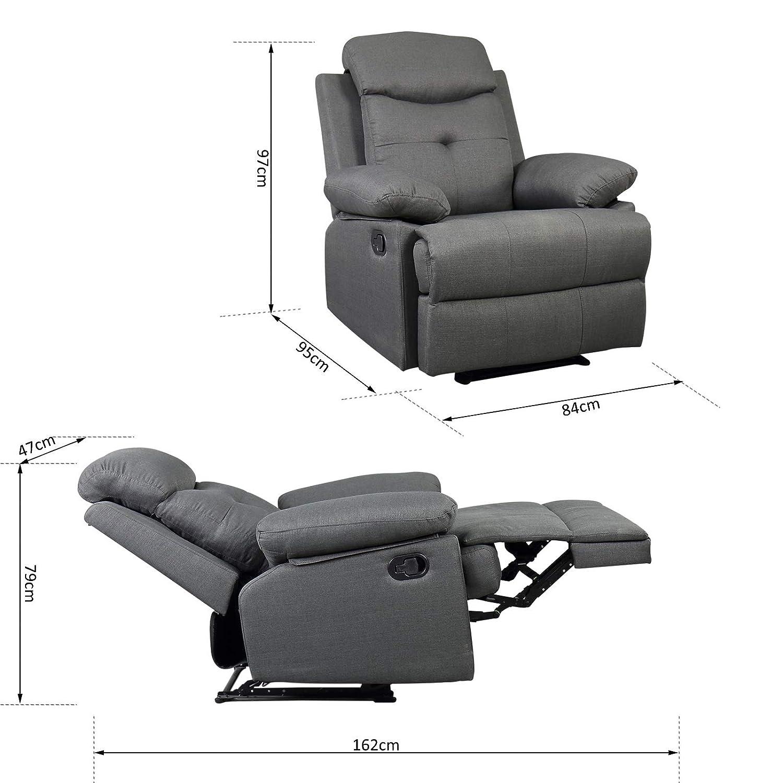 Homcom Fauteuil de Relaxation Design Contemporain Dossier inclinable Repose-Pied int/égr/é Ajustable rev/êtement Tissu Lin Gris
