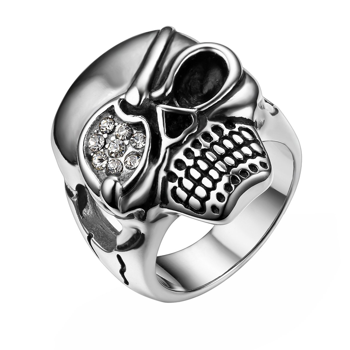 JewelryWe Bijoux Bague Homme Gothique Pirate Tête de Mort Crâne Diable Motard Biker Tribal Acier Inoxydable Anneaux Fantaisie Taille Optionnel