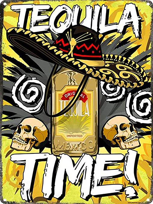 Tequila Time Mexican Póster de Pared Metal Creativo Placa ...