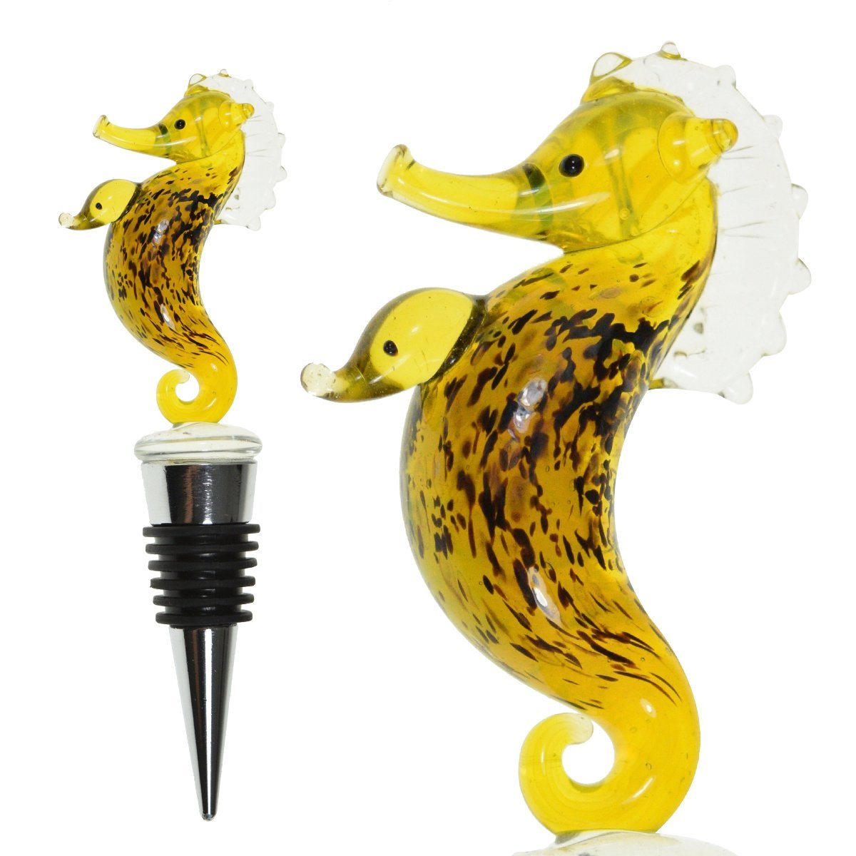 Glass Seahorse Wine Bottle Stopper (20+ Designs to Choose From) - Colorful, Unique, Handmade, Eye-Catching Decorative Glass Wine Bottle Stopper … (Seahorse)
