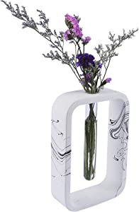 Flower Bud Tube vase   Made from Concrete Cement   Handmade Ink Effect Design and Smooth Polished   Home Decor and Centerpiece   Geometric Shape (Rectangle)