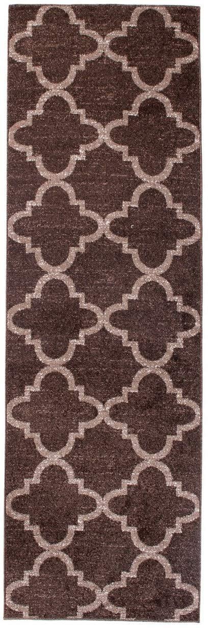 Tapiso LÄUFER MODERN BRÜCKE Flur Teppich - Muster MAROKKANISCH BRAUN - Calm Kollektion 70 x 300 cm