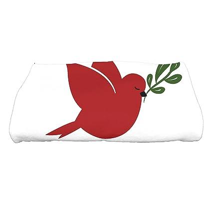 """E por diseño decorativo vacaciones Animal Print toalla de baño, rojo, 28 """""""