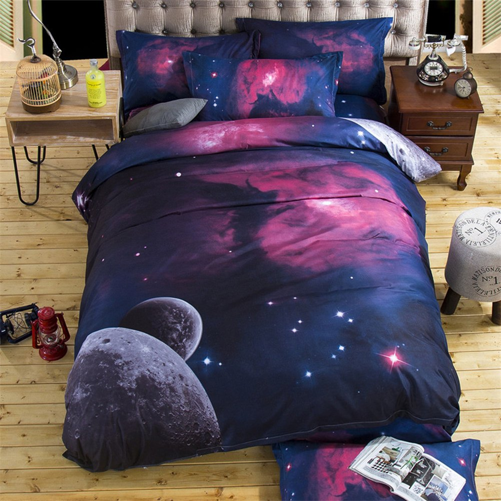 Lldaily 3D Galaxy Bedding Sets 4Pcs Starry Duvet Cover Set with Pillow Covers Sky Night Bedspread Comforter Set Queen,12