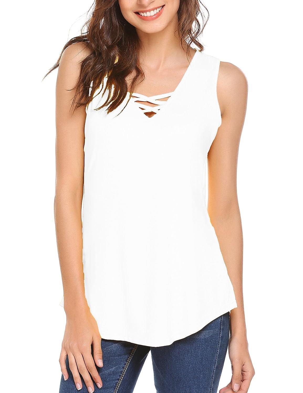 White SoTeer Women's Summer Sleeveless V Neck Lace Up Criss Cross Cami Tank Tops SXXL