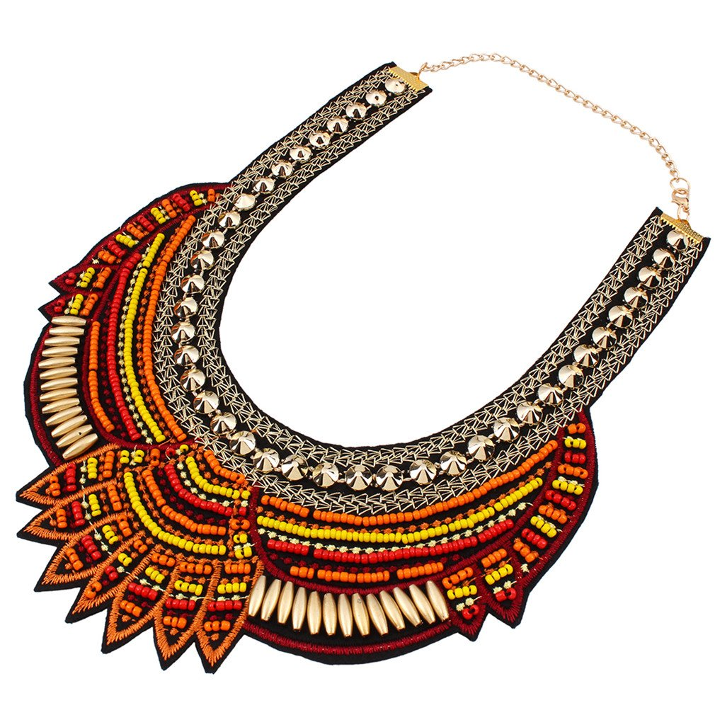 Yazilind Ethnic Style Multiple Millet Beads Chunky Chain Bib Statement Choker Collar Necklace for Women BlOnvoT