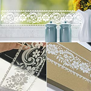 SimpleLife4U White Lace Transparent Removable Wallpaper Border Shop Display Window Sticker Bathroom Mirror Decor Rustic Floral