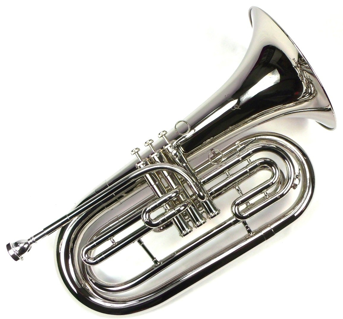 Advanced Monel Pistons Marching Baritone Key of Bb w/ Case & Mouthpiece-Nickel Plated Finish by Moz