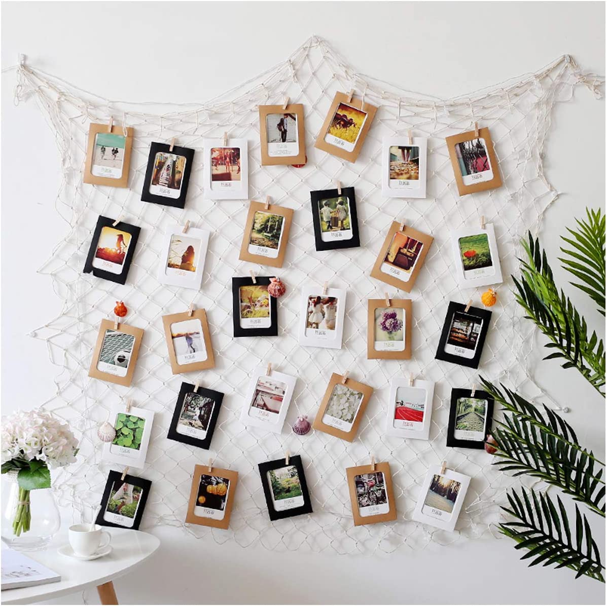 DGQ Photo Hanging Photo Display Frames 79 x 40inch DIY Picture Frames Collage Set Mediterranean Fishing Net Wall Decorations with 40 Clips for Hanging Photos, Prints and Artwork