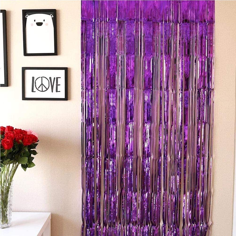 SpringPear Metal Foil Fringe Curtain Decoration for Party Shining Streamers Wedding Birthday Christmas Halloween Stage Props Background Wall Deco