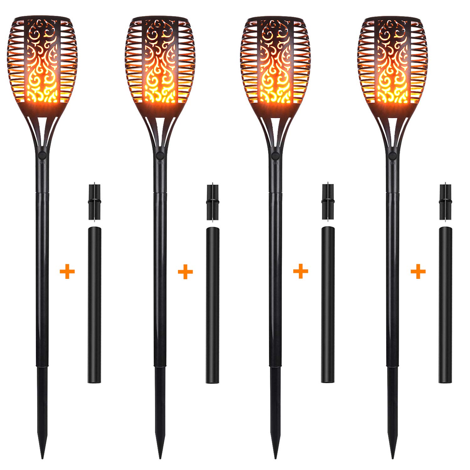 Xtozon Solar Torch Lights Upgraded, Dancing Flames Torch Solar Lamp, 96 LED Flame Effect Saving Lamp, Waterproof Outdoor Pathway Decoration Solar Security Light Auto On/Off from Dusk to Dawn - 4 pack