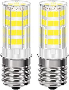 Microwave Oven Bulb Ceramic 4W E17 LED Bulb Appliance Light Bulbs Intermediate Base Light Bulb for Oven,40W Halogen Bulb Equivalent, Dimmable AC 110V-130V Daylight White 6000K, 350LM, Pack of 2