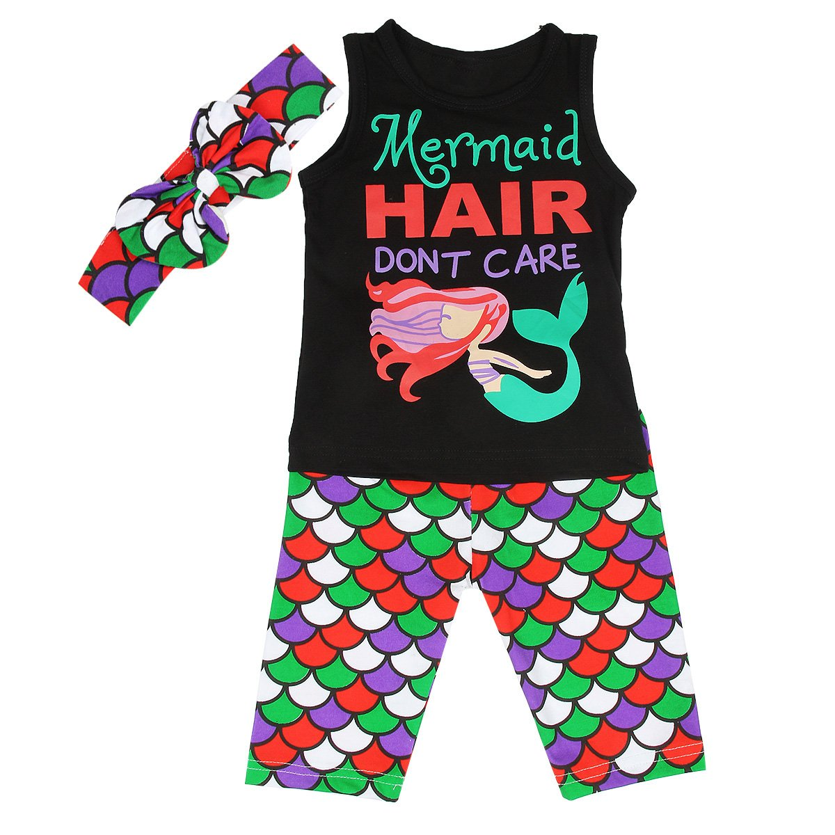 Camidy 1-6T Toddler Kids Girl Mermaid Cute Vest Shirt Top+Shorts+Headband Outfits Set