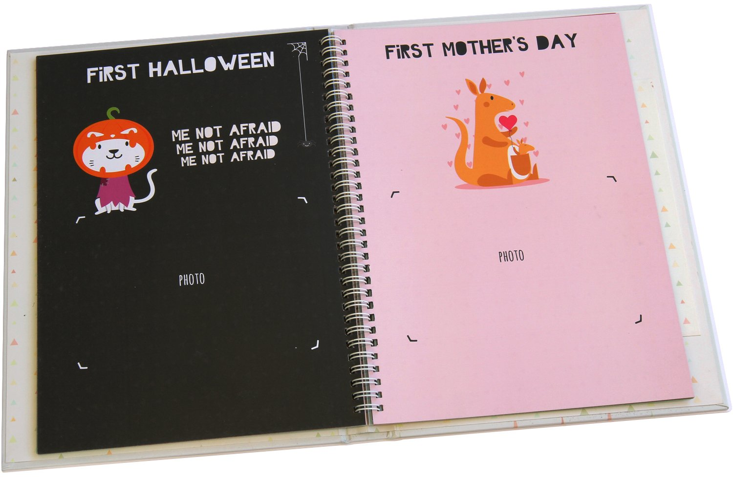 Me & My First Years Baby Memory Book - Animals. Personalised album for photos, pictures & development. Perfect Baby Shower Gift. (White) by Me and My First (Image #8)
