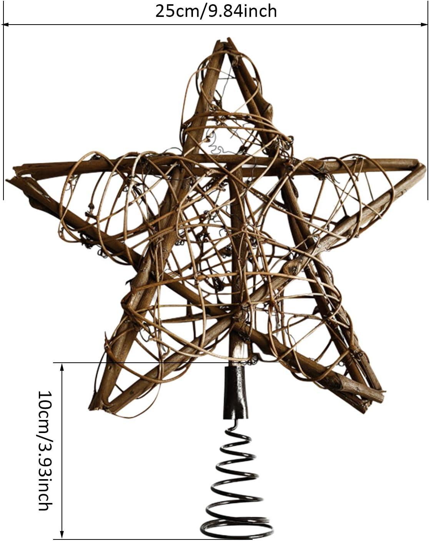 Decoraci/ón De Estrella LED Blanca C/álida De Rat/án Tejida para Decoraci/ón De /árbol De Navidad O Decoraci/ón del Hogar ?25cm? QLPXY Luces De Adorno De Estrella De /árbol De Navidad