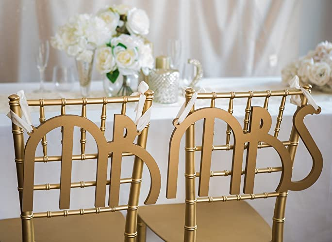 Amazon.com: Wedding Chair Signs Great Gatsby Style Vintage Art Deco ...