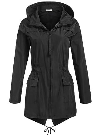 b9f8c7ab7a2 SoTeer Rain Jacket Women Waterproof Rain Coat with Hood Outdoor Lightweight  Casual Windbreaker Running Anoraks