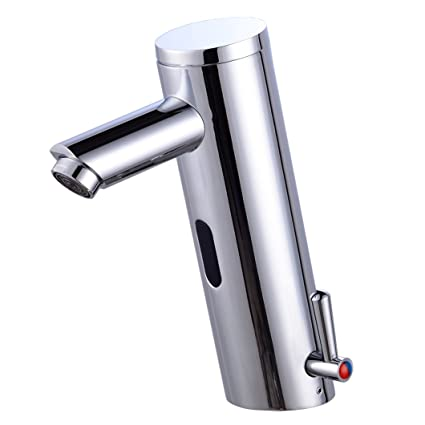 Gangang Home Deck Mount Touch Free Automatic Sensor Sink Faucet With  Temperature Control Handle Chrome Single